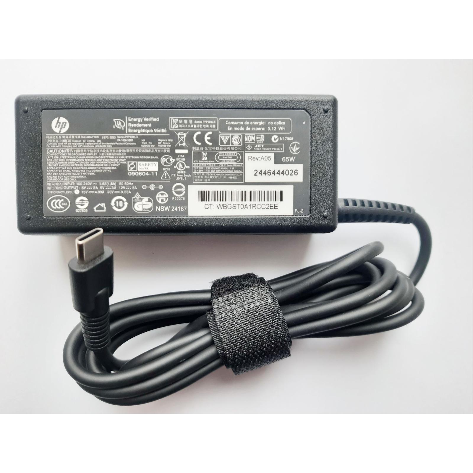 Блок питания к ноутбуку HP 65W 20V, 3.25A + 15V, 4.33A + 12V, 5A + 9V, 3A + 5V, 3A, раз (PPP009L-E / A40250) изображение 2