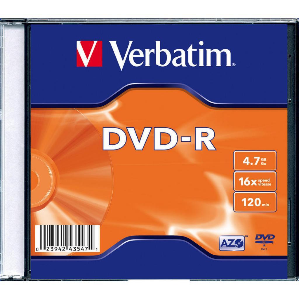 Диск DVD Verbatim 4.7Gb 16X SlimBox 20шт MatteSilv AZO (43547)