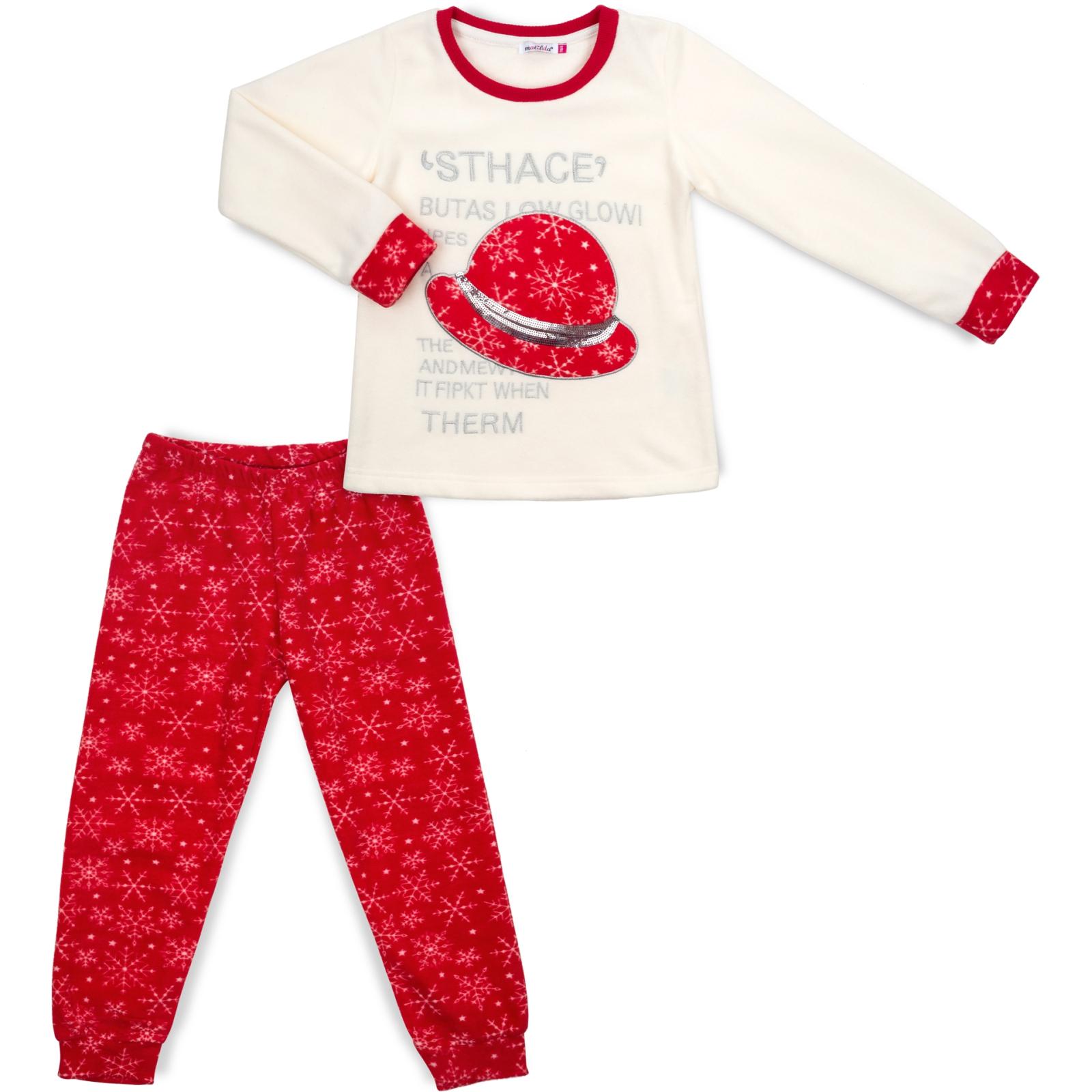 Пижама Matilda флисовая со шляпкой (9110-3-134G-red)