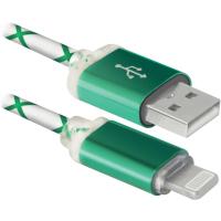 Дата кабель Defender ACH03-03LT USB - Lightning, GreenLED backlight, 1m (87553)
