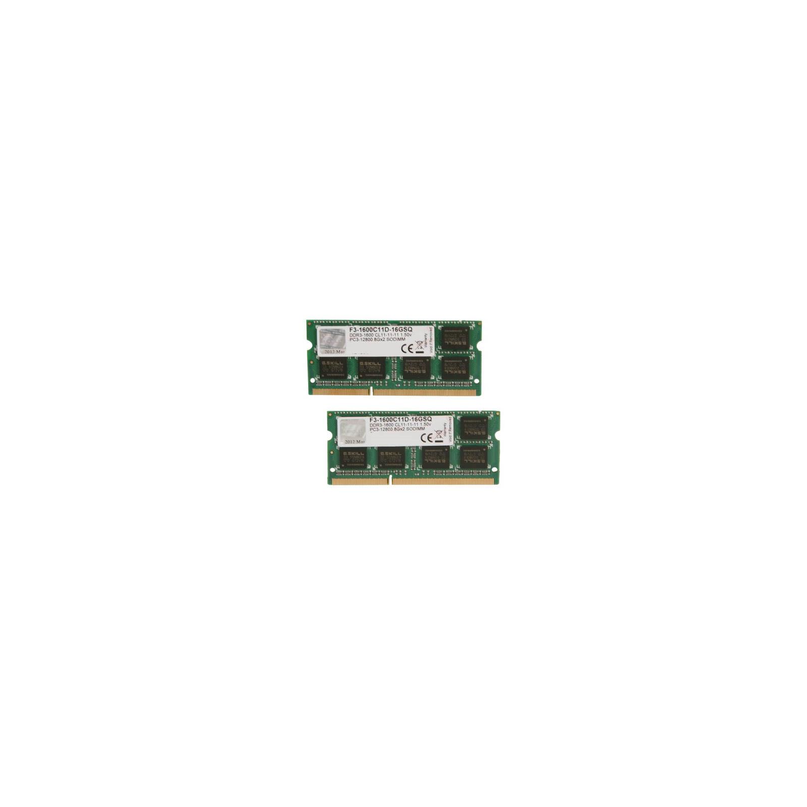 Модуль памяти для ноутбука SoDIMM DDR3 16GB (2x8GB) 1600 MHz G.Skill (F3-1600C11D-16GSQ)