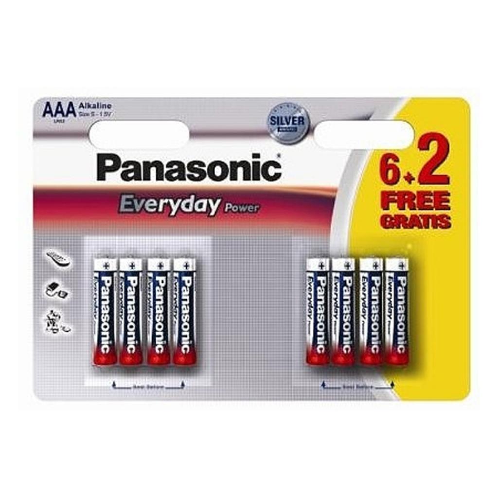 Батарейка PANASONIC AAA LR03 Everyday Power * 8(6+2) (LR03REE/8B2F)