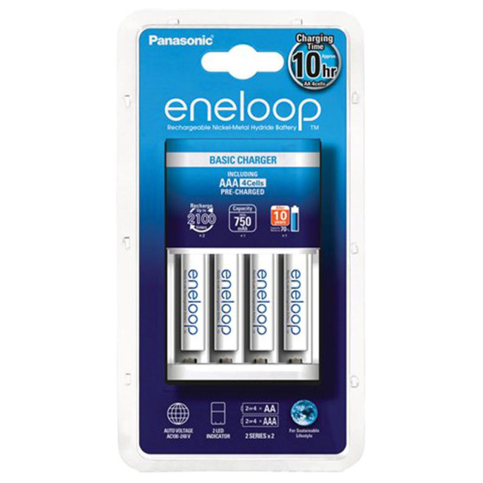 Зарядное устройство для аккумуляторов PANASONIC Basic Charger New + Eneloop 4AAA 750 mAh NI-MH (K-KJ51MCC04E)