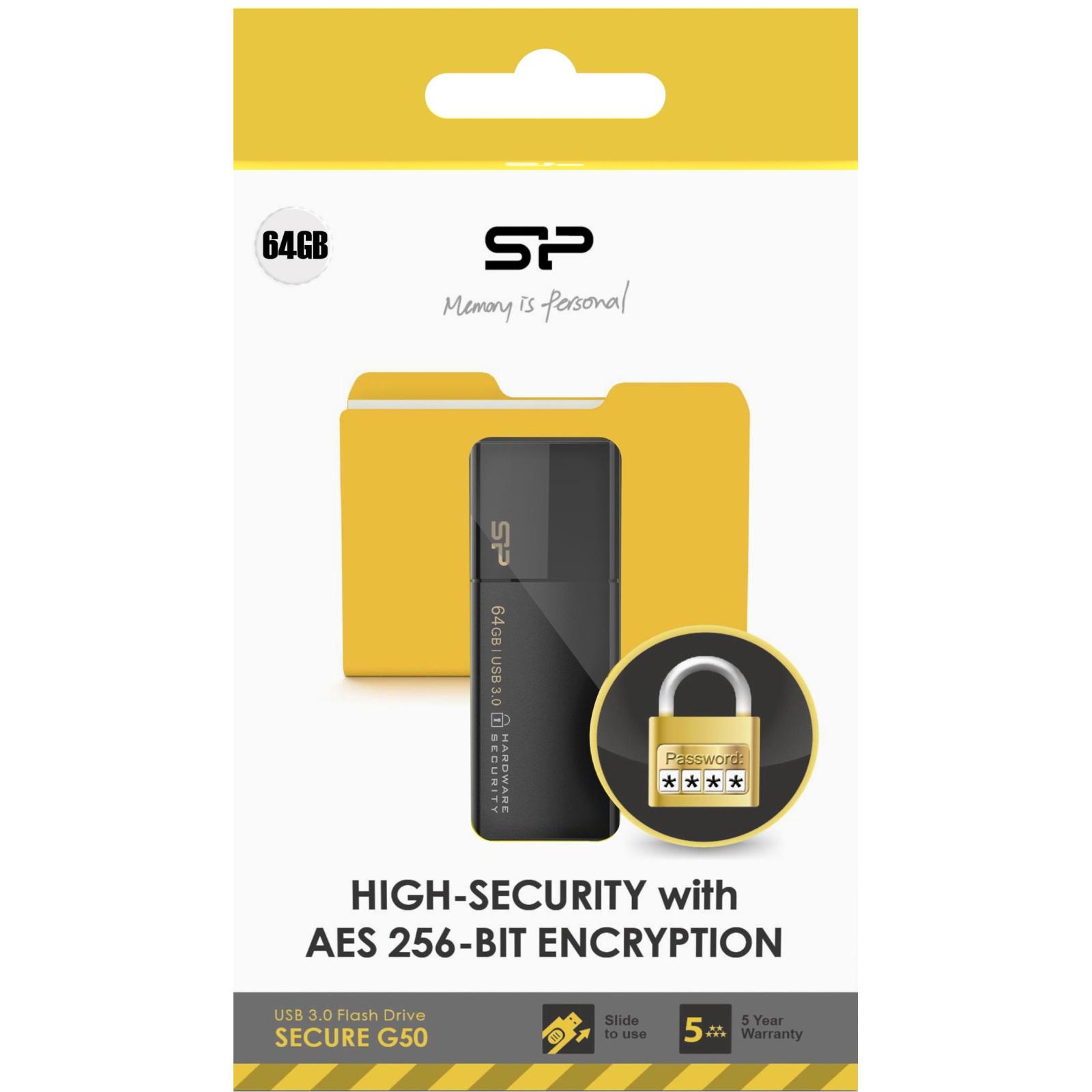 USB флеш накопитель Silicon Power 32GB Secure G50 USB 3.0 (SP032GBUF3G50V1K) изображение 4