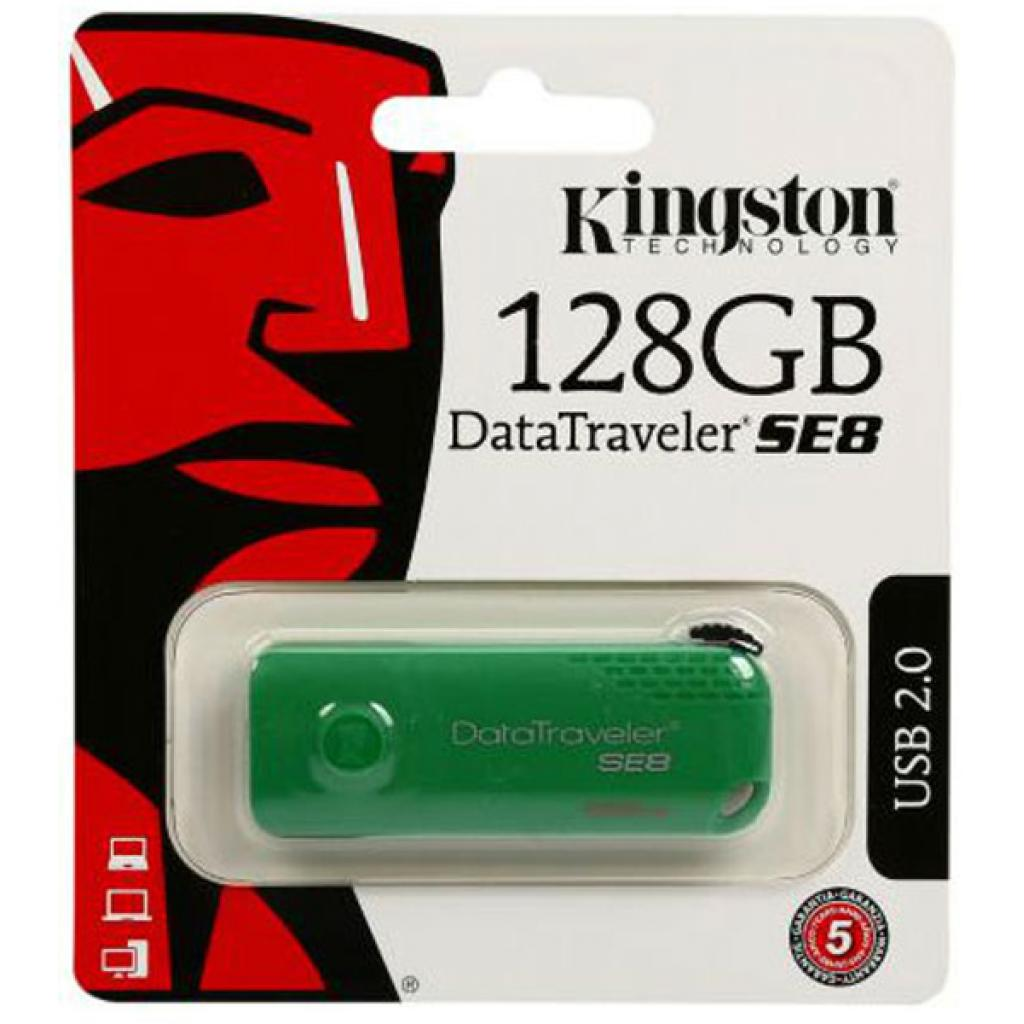 USB флеш накопитель Kingston 128GB DataTraveler SE8 Green USB 2.0 (DTSE8/128GB) изображение 8
