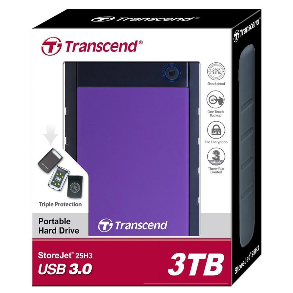 "Внешний жесткий диск 2.5"" 3TB Transcend (TS3TSJ25H3P) изображение 5"