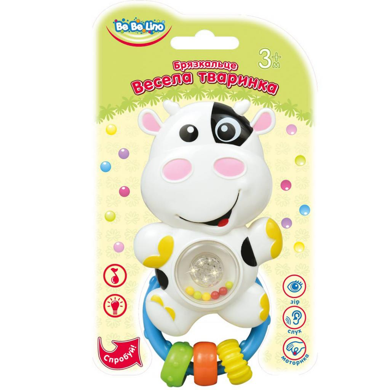 Погремушка BeBeLino Веселое животное Коровка (57071)