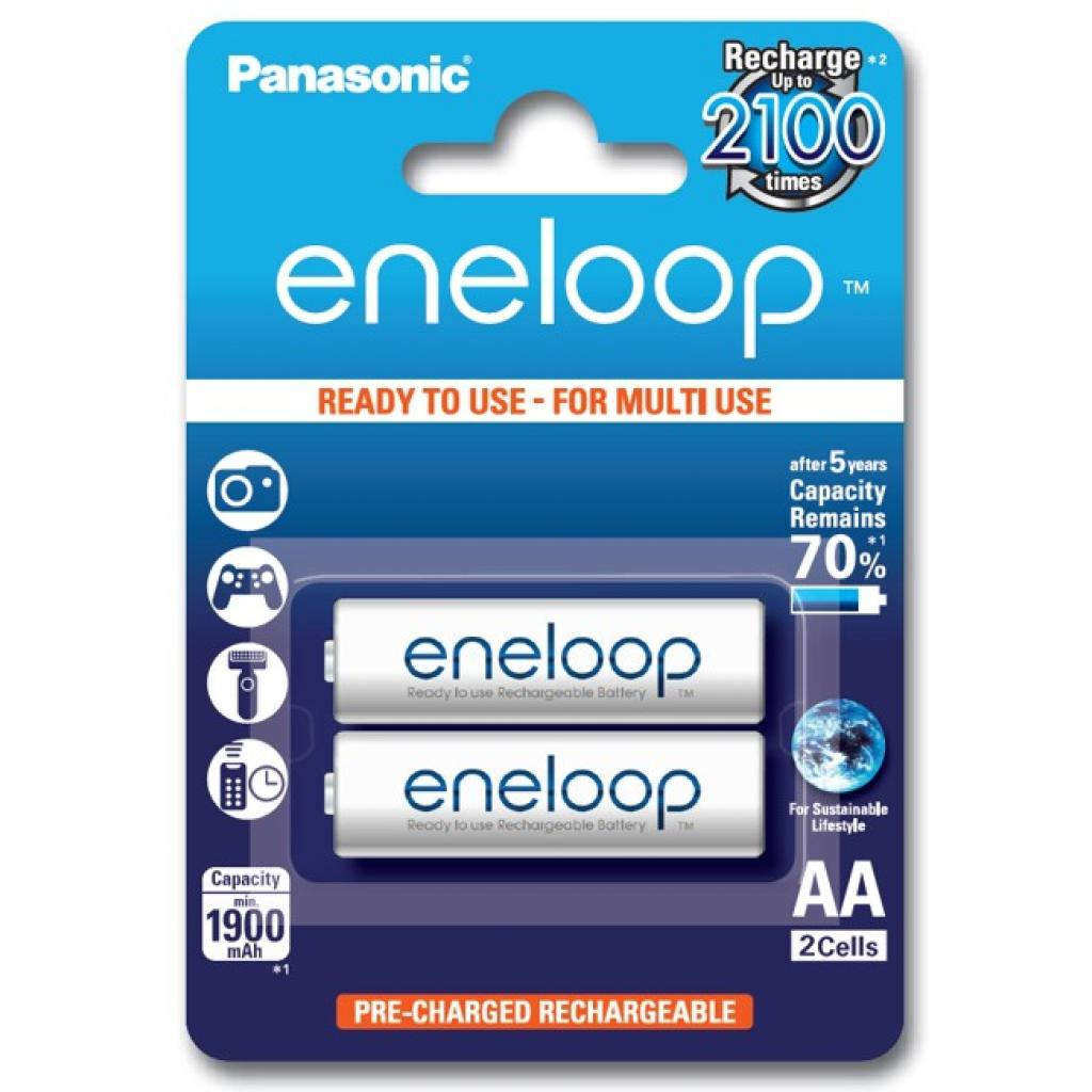 Акумулятор Panasonic Eneloop AA 1900mAh NI-MH * 2 (BK-3MCCE/2BE)