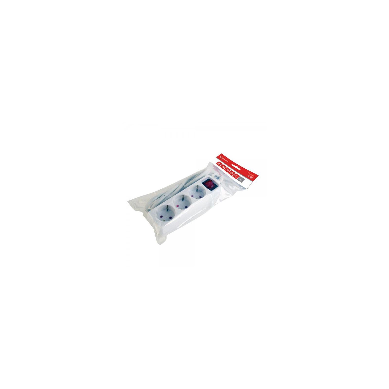 Сетевой фильтр питания Gembird 3 роз, 1.5м, 1.5mm2 (PS-S3SW-W-1.5M) изображение 2