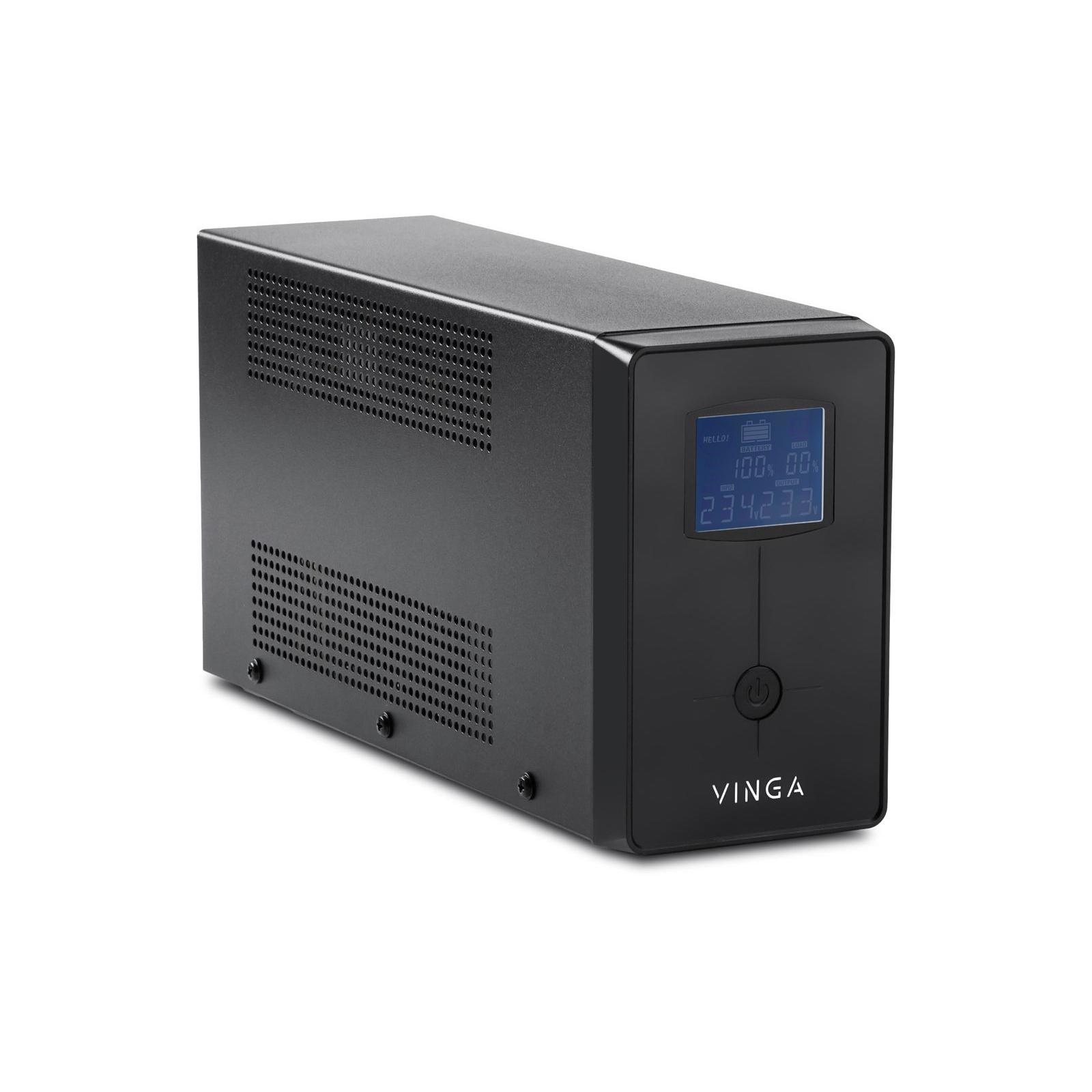 Источник бесперебойного питания Vinga LCD 600VA metal case with USB (VPC-600MU) изображение 4