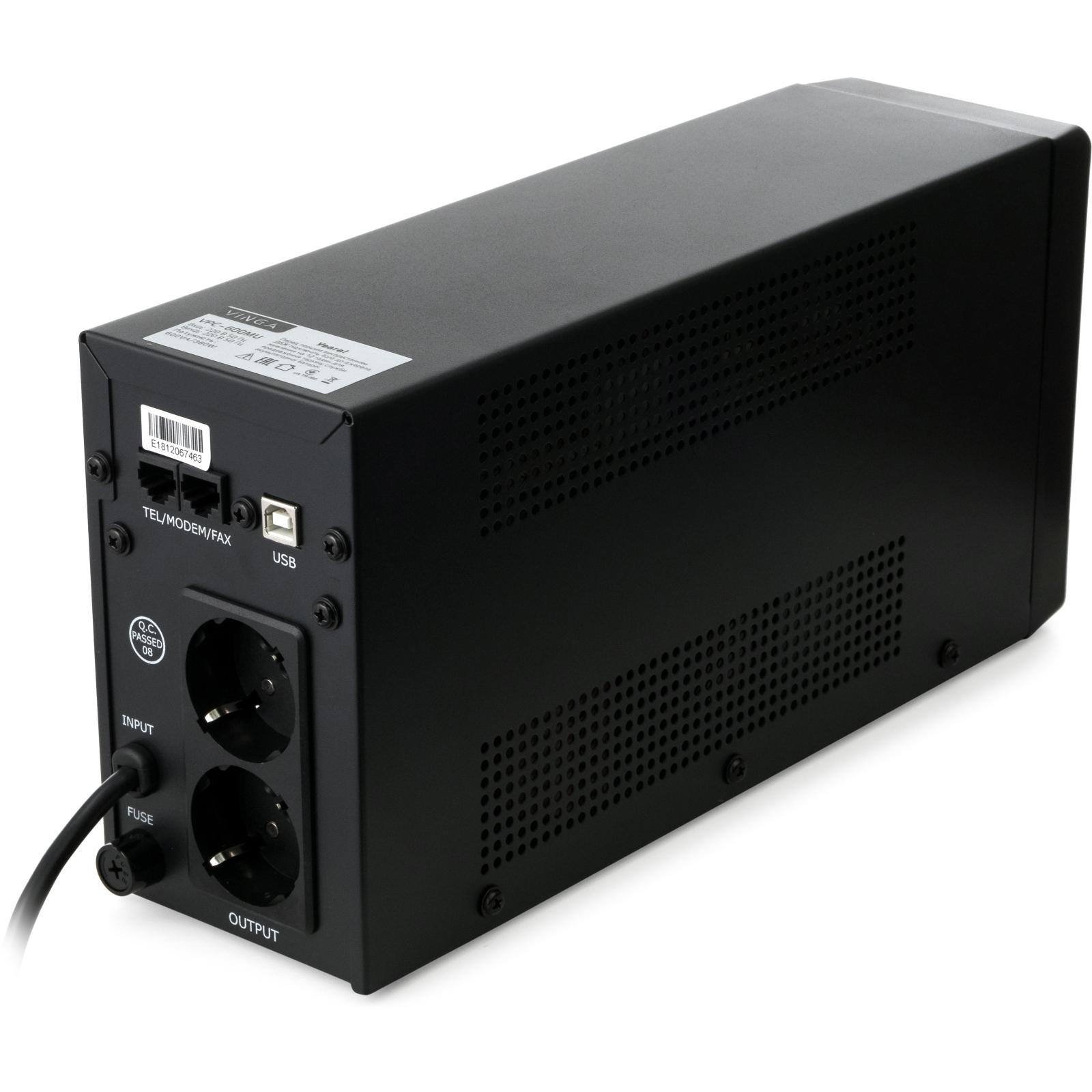 Источник бесперебойного питания Vinga LCD 600VA metal case with USB (VPC-600MU) изображение 6