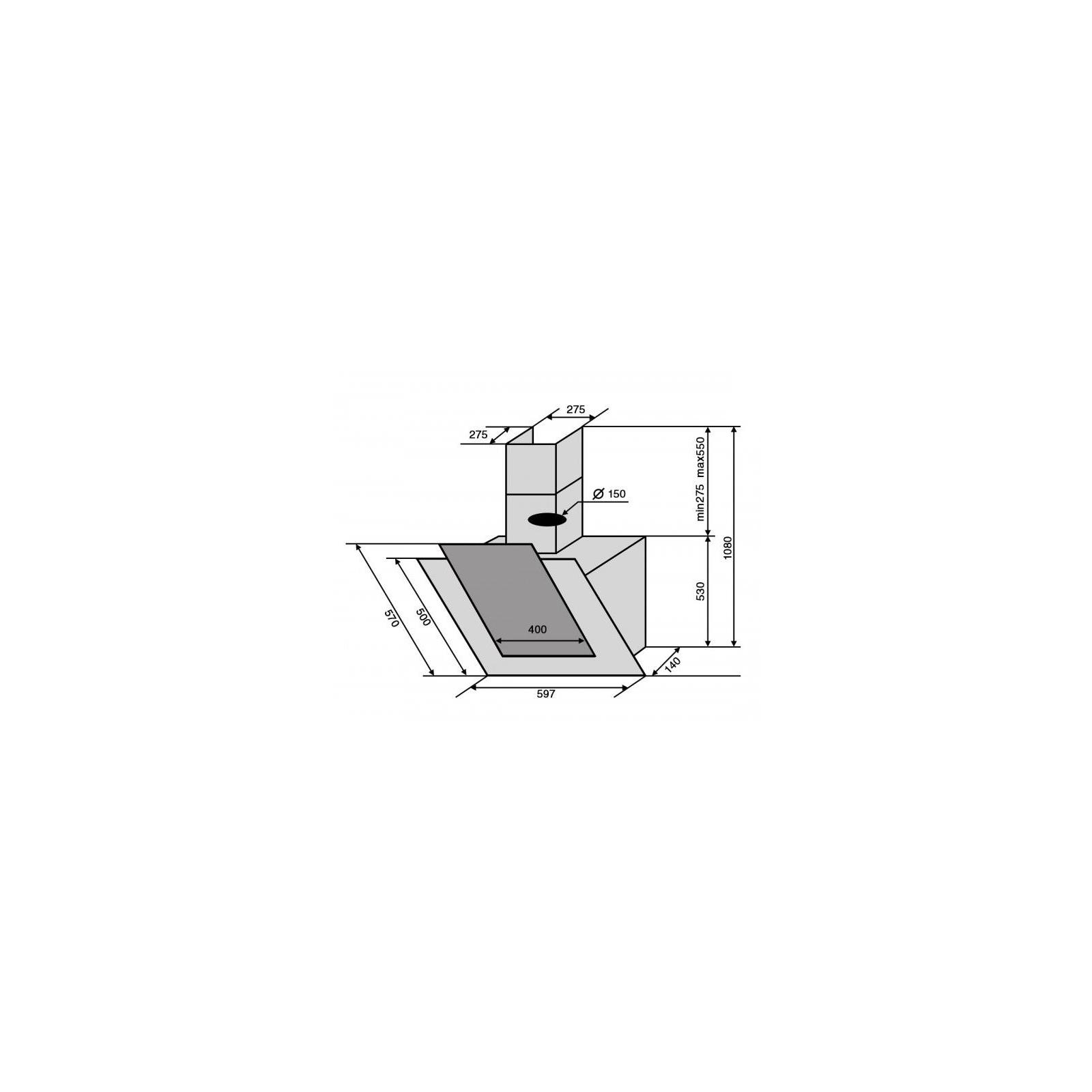 Вытяжка кухонная VENTOLUX FIJI 60 BK/WH (1000) TC IT изображение 9
