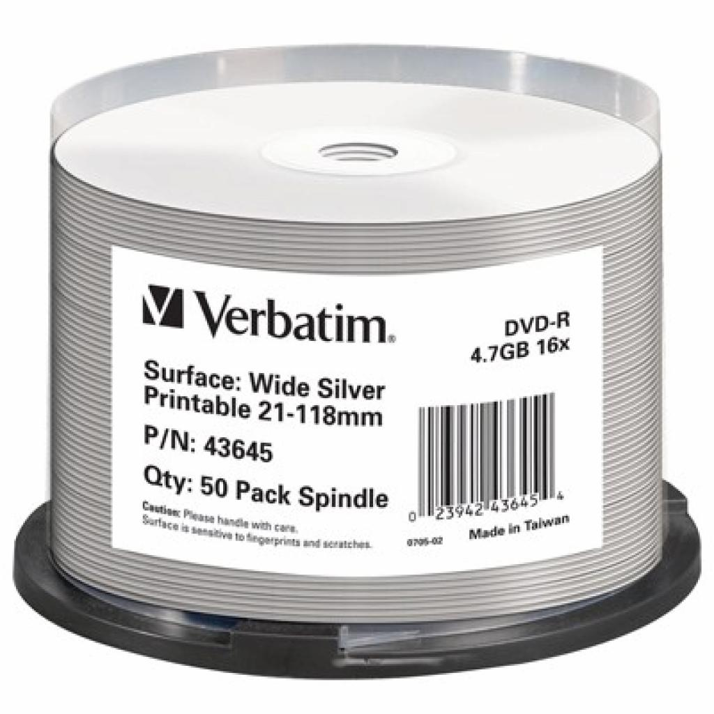 Диск DVD-R Verbatim 4.7Gb 16X CakeBox 50шт Print-SILVE (43645)