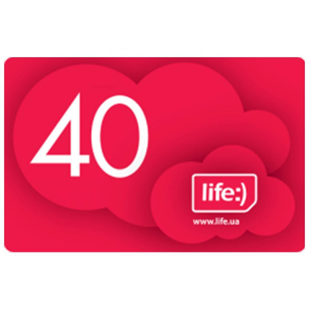 Карточка пополнения счета Life:) 40 (4820158950288/7290010375592)