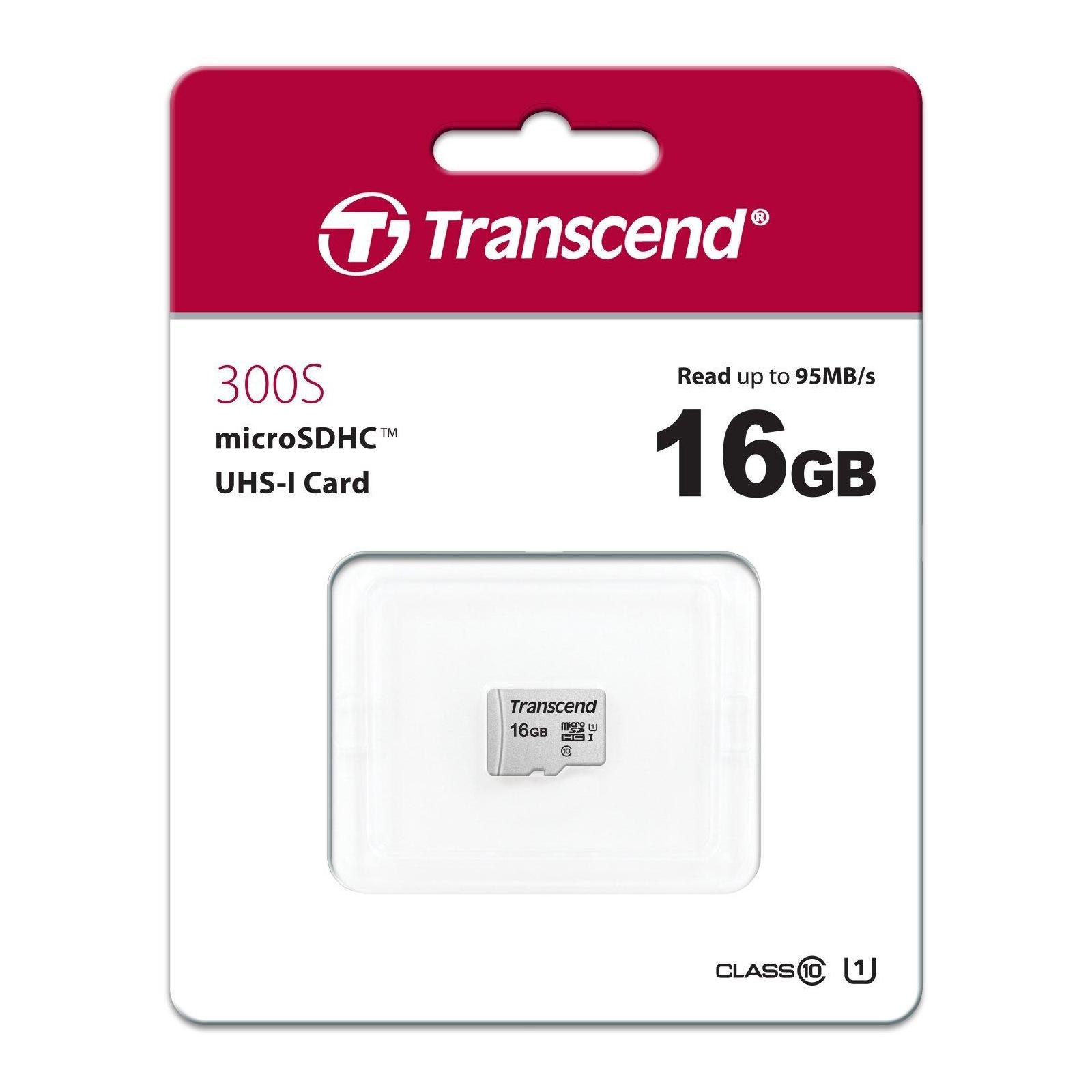 Карта памяти Transcend 16GB microSDHC class 10 UHS-I U1 (TS16GUSD300S) изображение 2