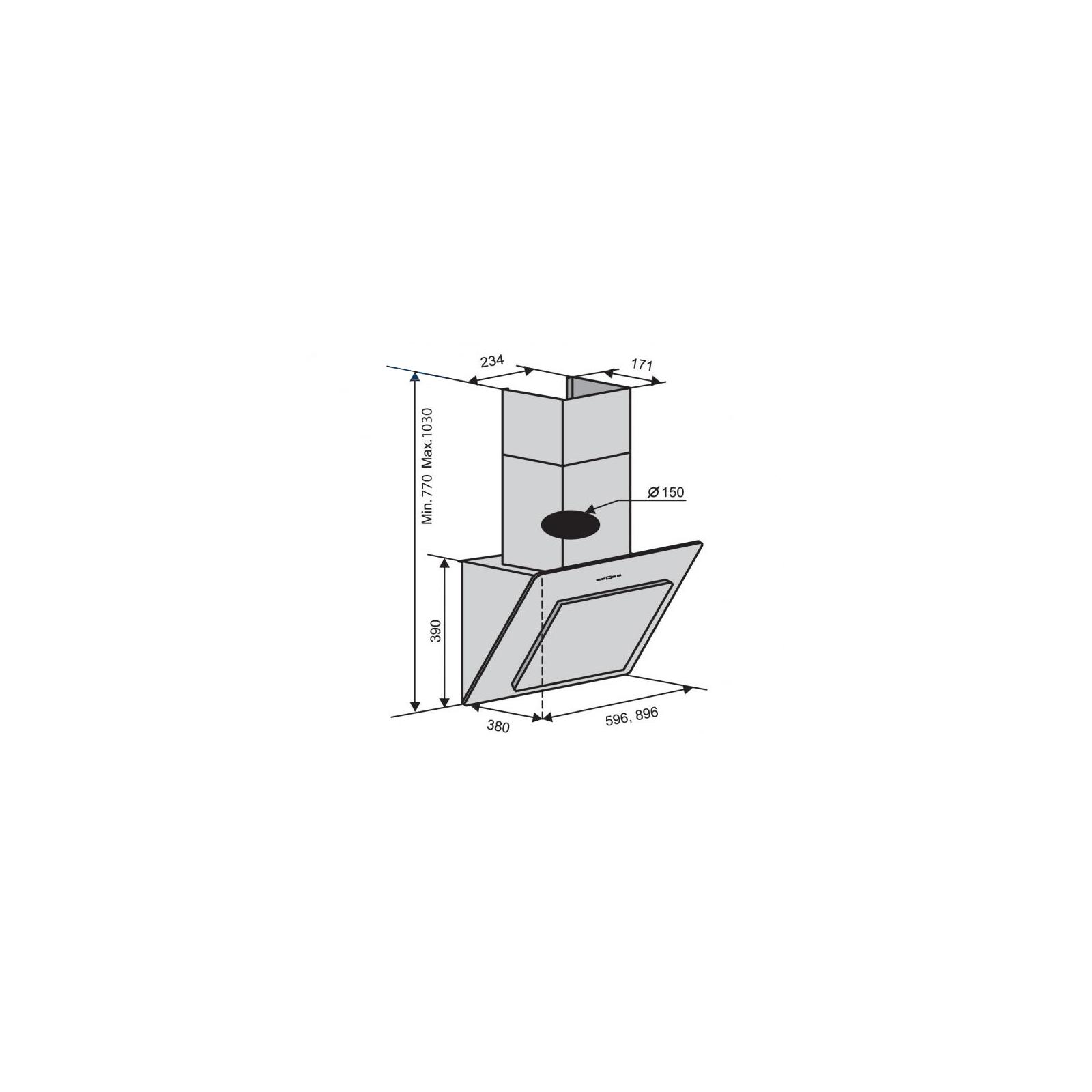 Вытяжка кухонная VENTOLUX TREVI 90BK (1000) (TC) IT изображение 2