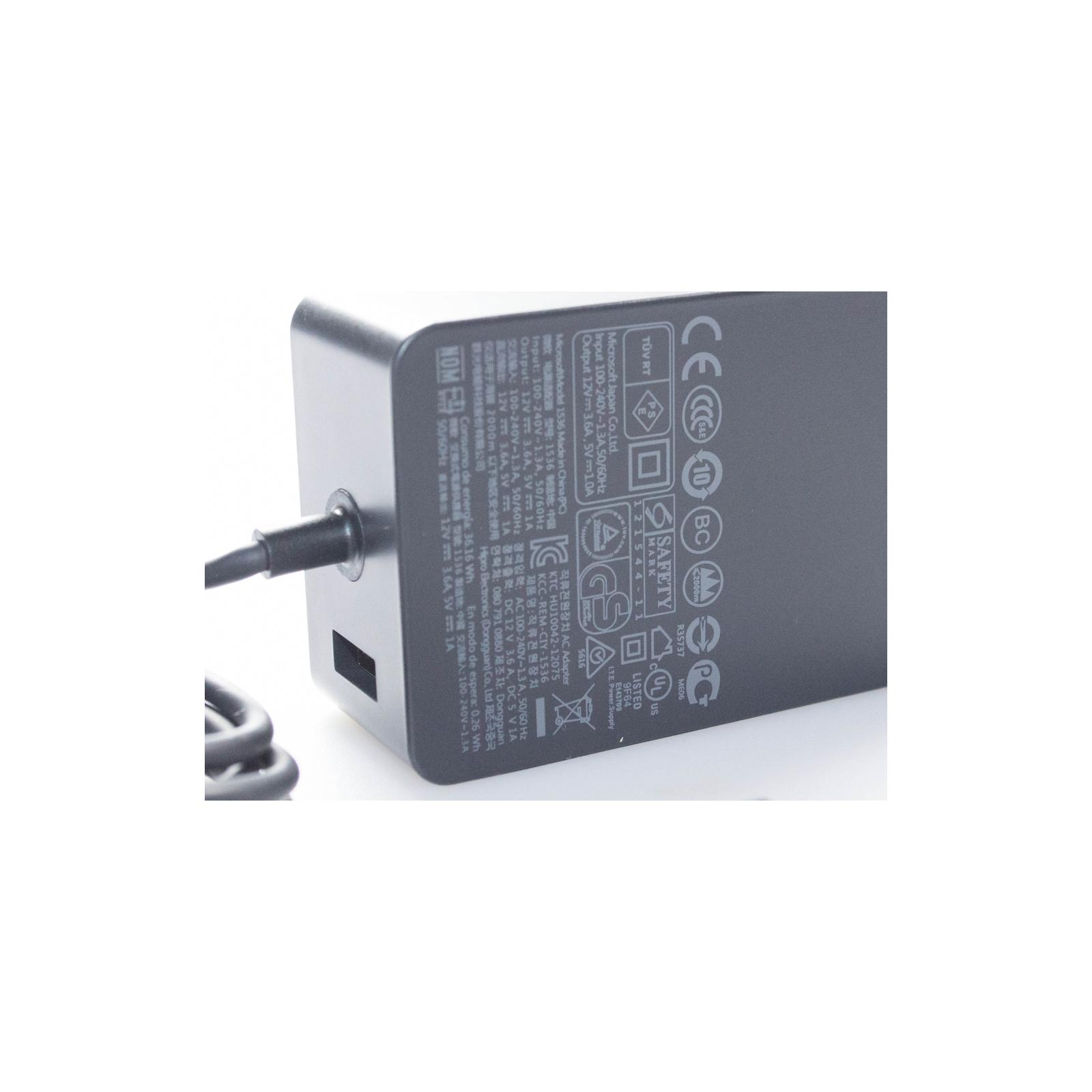 Блок питания для планшета Microsoft 43W 12В, 3.6А, разъем 5-pin special + USB (model 1536 / A40218) изображение 4