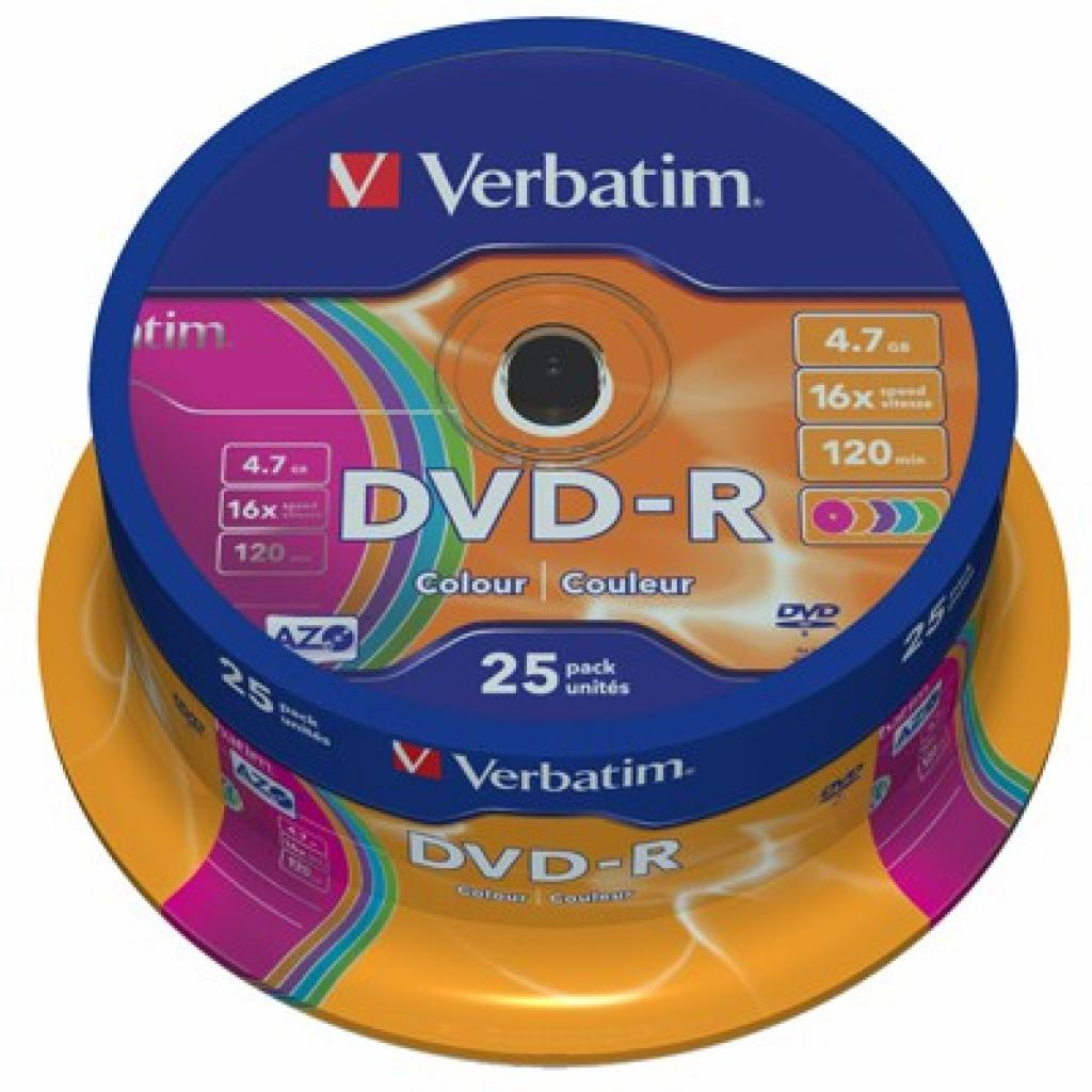 Диск DVD Verbatim 4.7Gb 16X CakeBox 25шт COLOUR (43732)