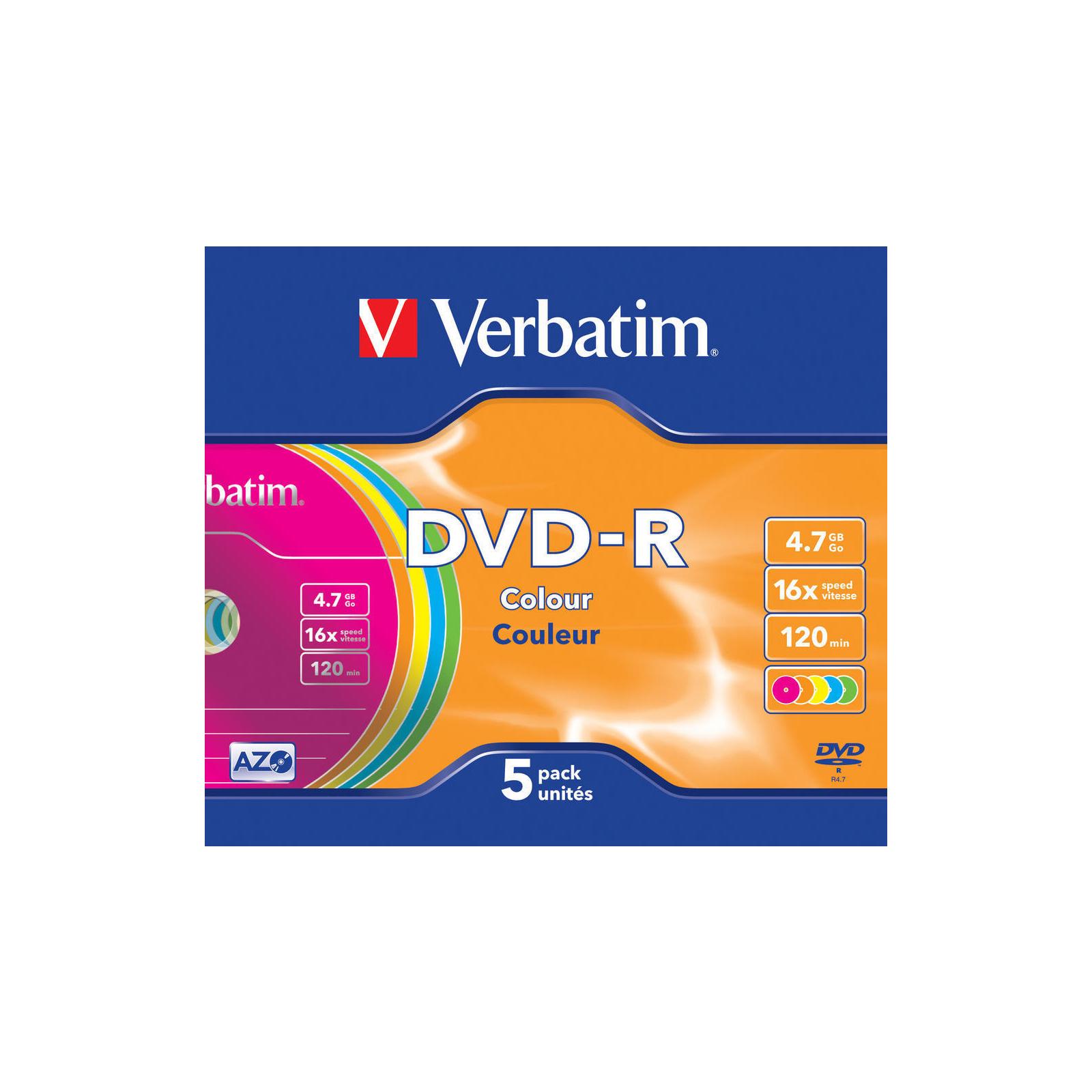 Диск DVD Verbatim 4.7Gb 16X Slim case 5 шт Color (43557) изображение 2