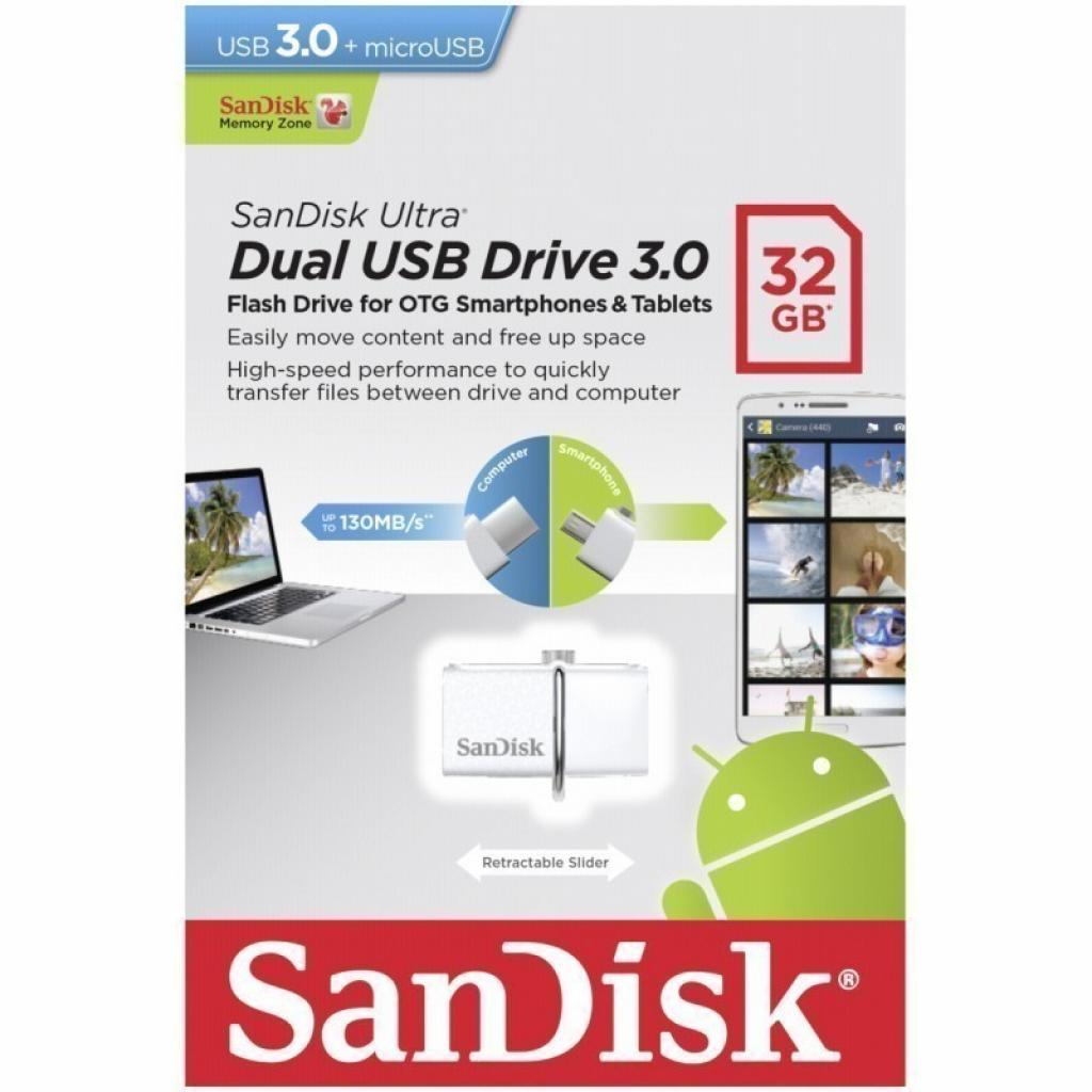 USB флеш накопитель SANDISK 32GB Ultra Dual Drive White OTG USB 3.0 (SDDD2-032G-G46W) изображение 8