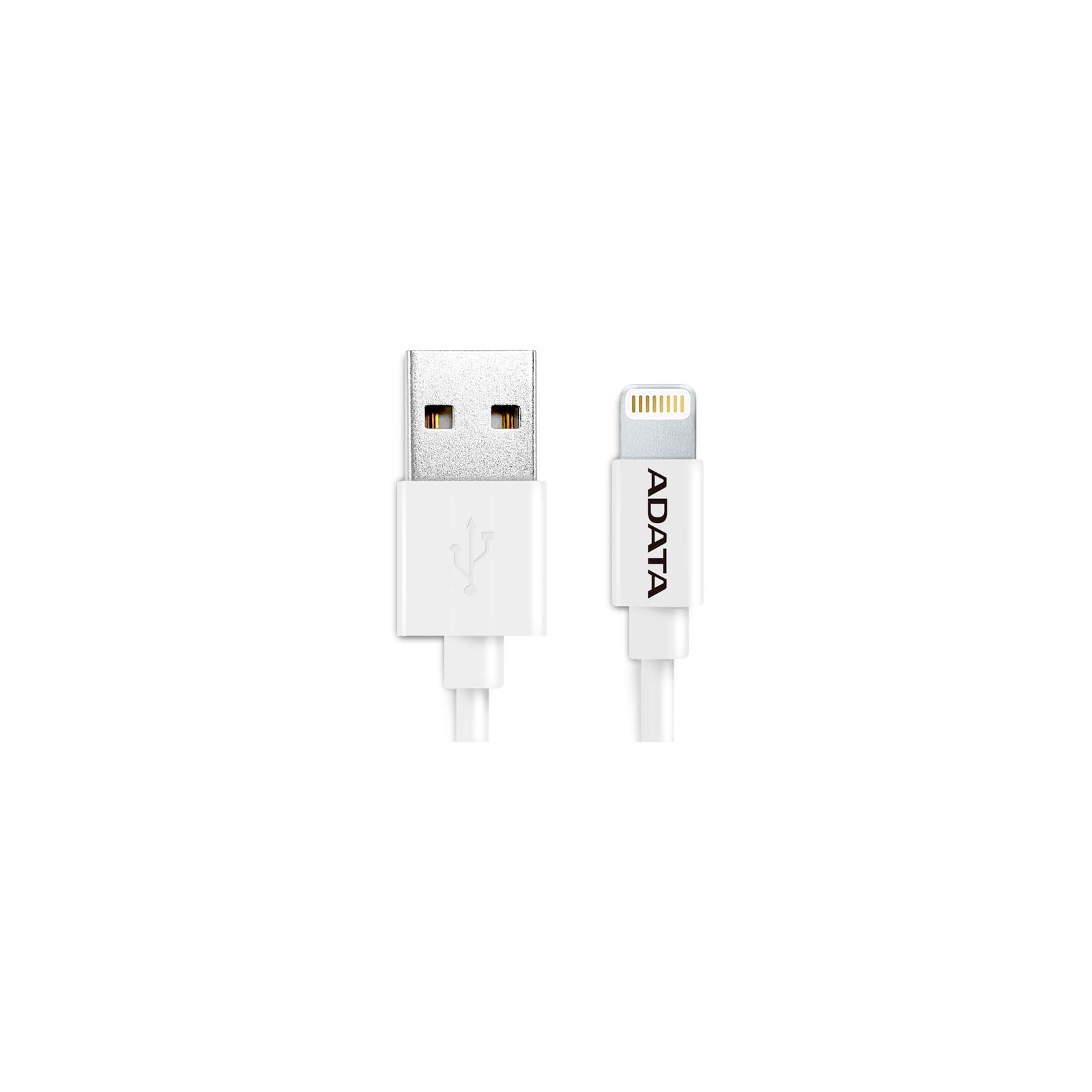 Дата кабель USB 2.0 AM to Lightning 1.0m MFI White ADATA (AMFIPL-100CM-CWH) изображение 2
