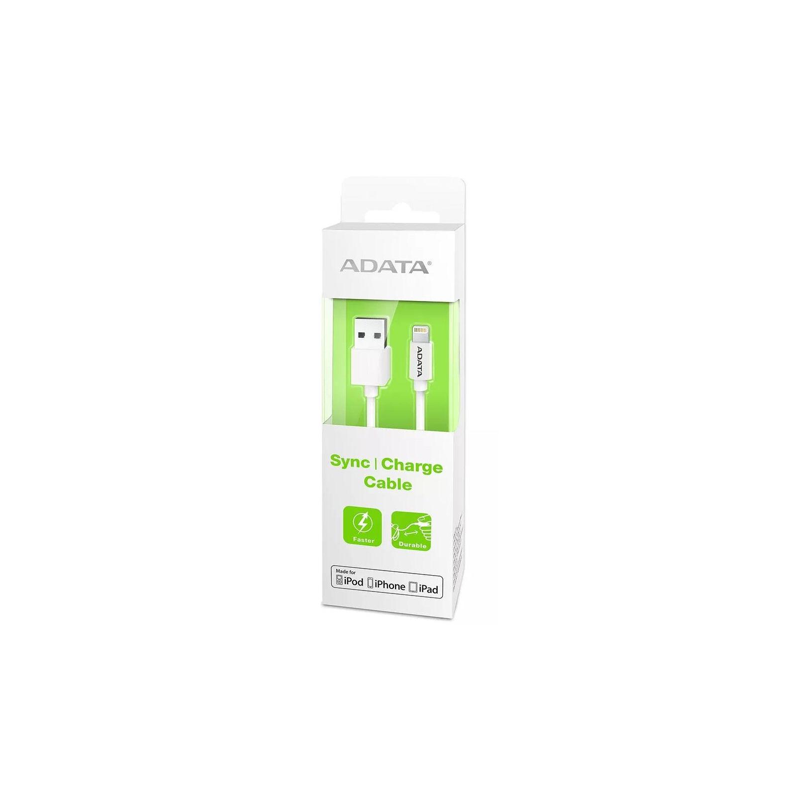 Дата кабель USB 2.0 AM to Lightning 1.0m MFI White ADATA (AMFIPL-100CM-CWH) изображение 3