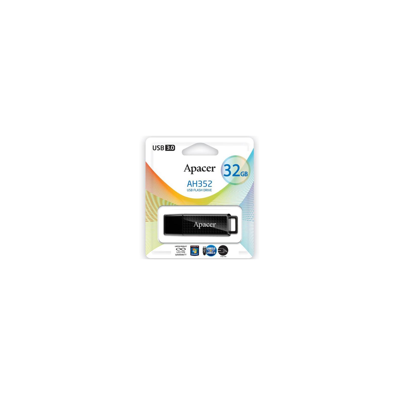 USB флеш накопитель 32GB AH352 Black RP USB3.0 Apacer (AP32GAH352B-1) изображение 6