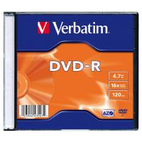Диск DVD-R Verbatim 4.7Gb 16X SlimBox 100шт MatteSilv AZO (43547-100)