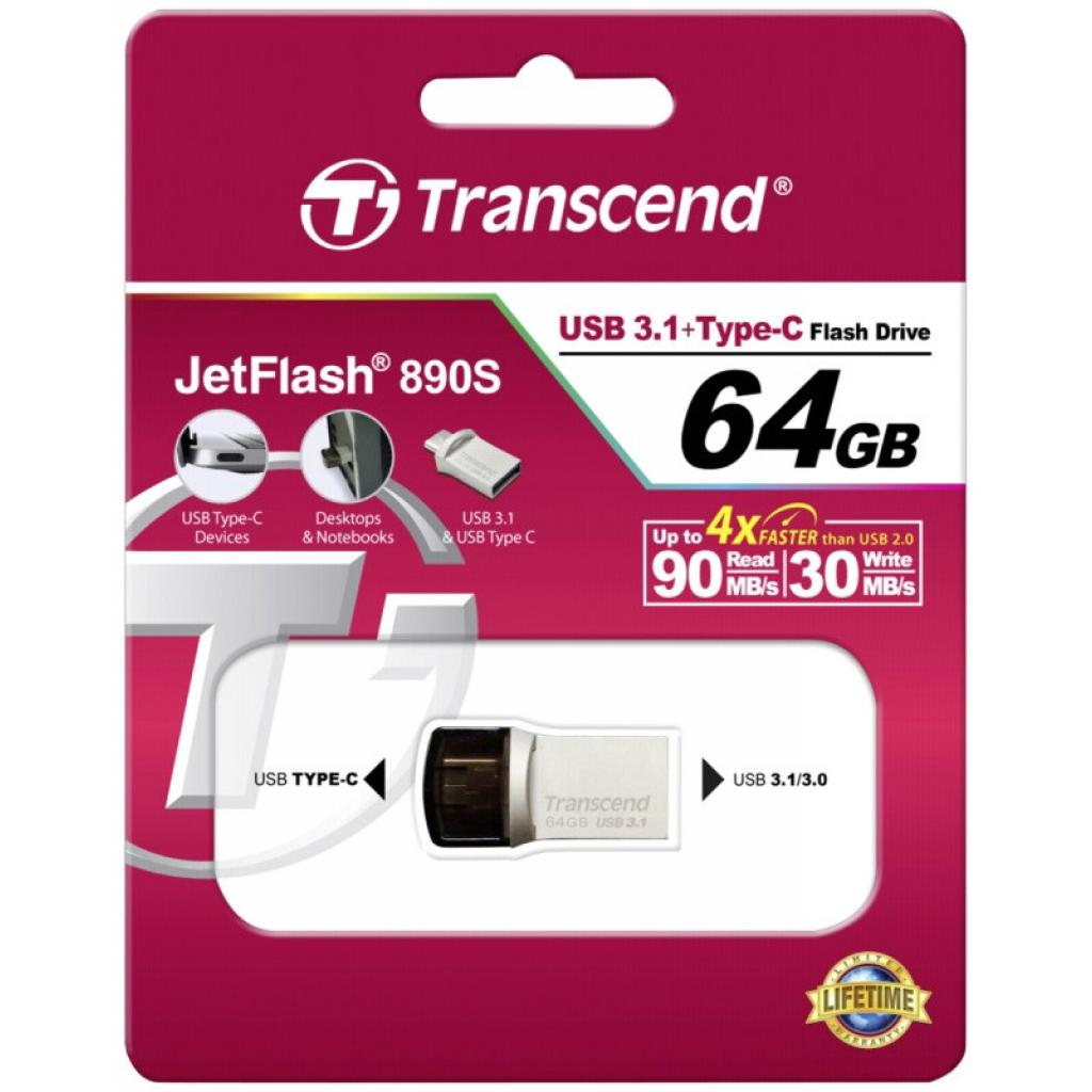 USB флеш накопитель Transcend 64GB JetFlash 890S USB 3.1 (TS64GJF890S) изображение 5