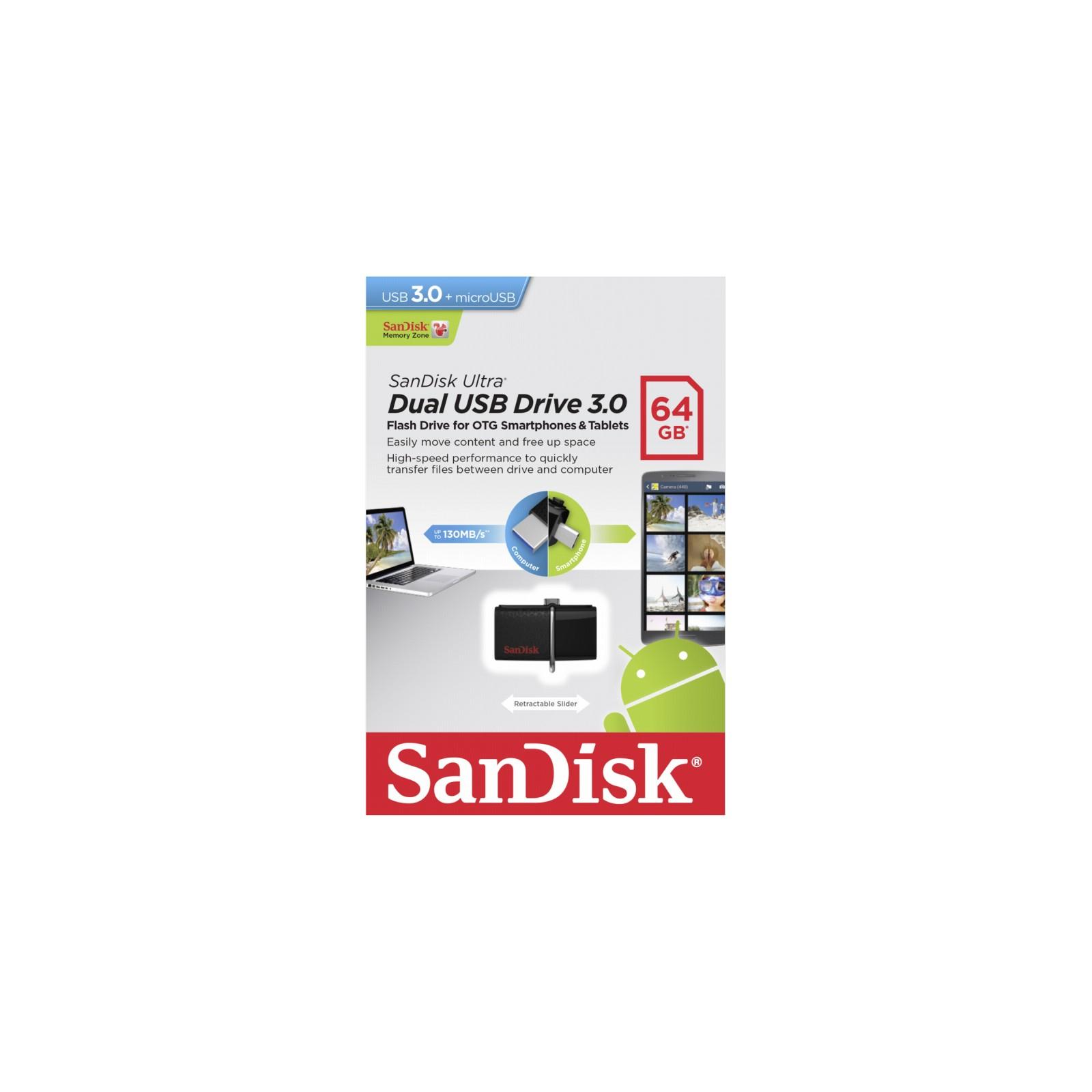 USB флеш накопитель SanDisk 64GB Ultra Dual Drive m3.0 White-Gold USB 3.0/OTG (SDDD3-064G-G46GW) изображение 7