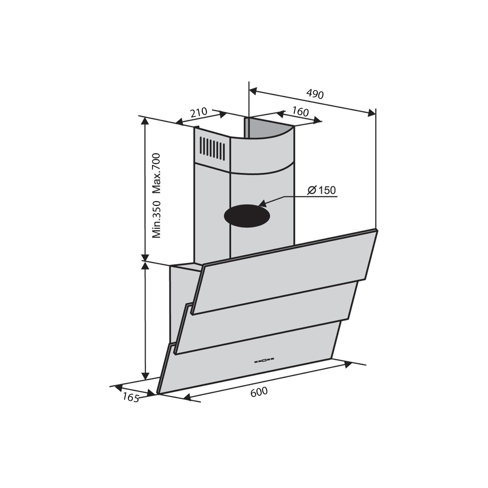 Вытяжка кухонная VENTOLUX RIALTO 60 BK (1000) TRC IT изображение 2