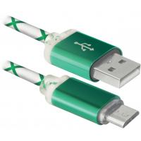Дата кабель Defender USB08-03LT USB - Micro USB, GreenLED backlight, 1m (87557)