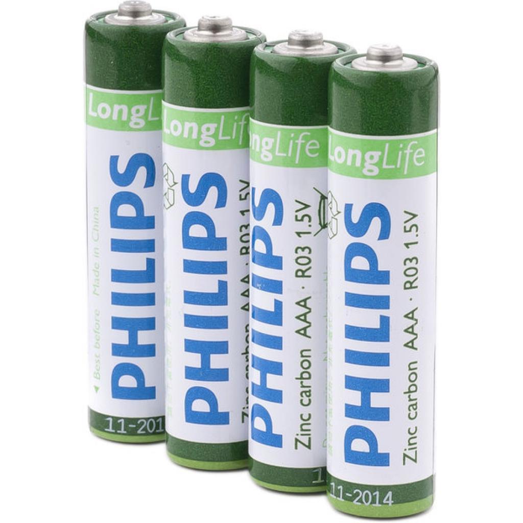 Батарейка PHILIPS R03 PHILIPS LongLife L4F * 4 (R03L4F/97) изображение 2