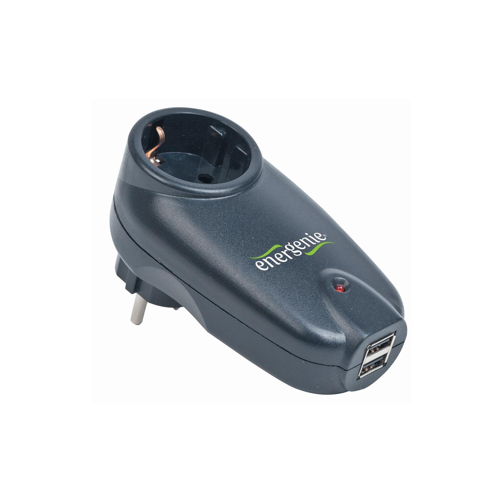 Сетевой фильтр питания EnerGenie Single AC socket Surge protected USB charger, black (SPG1-U)