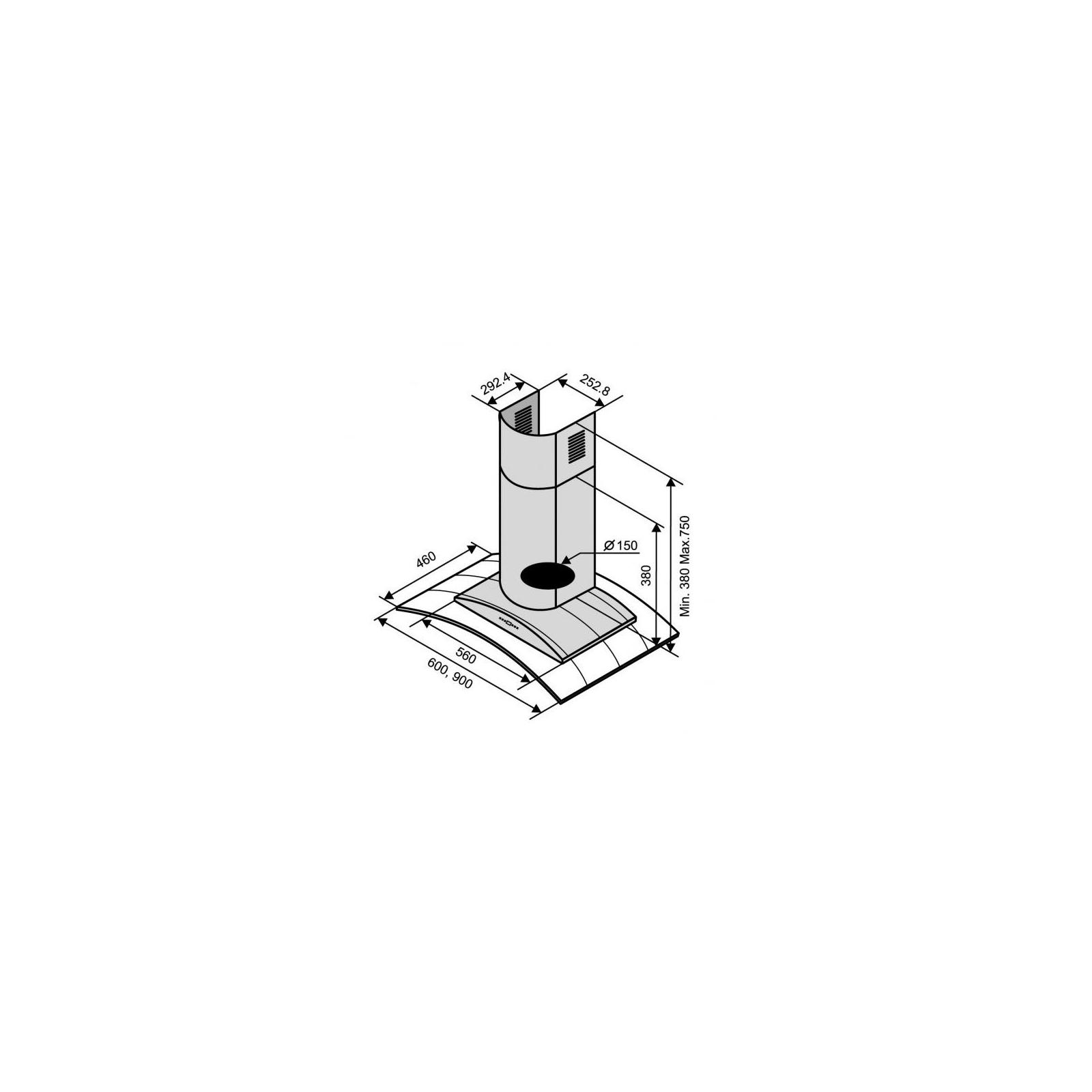Вытяжка кухонная Ventolux RIALTO 60 BK (750) TRC изображение 2