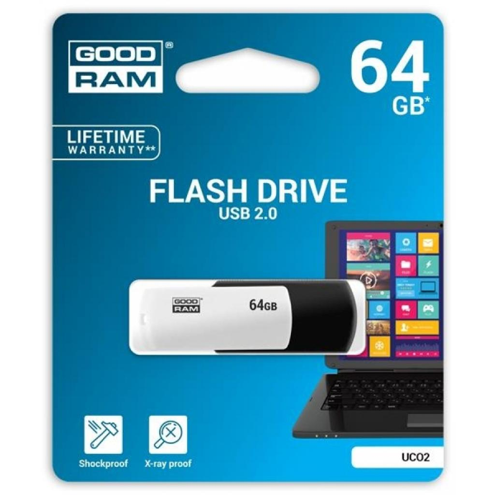 USB флеш накопитель Goodram 16GB UCO2 (Colour Mix) Black/White USB 2.0 (UCO2-0160KWR11) изображение 3