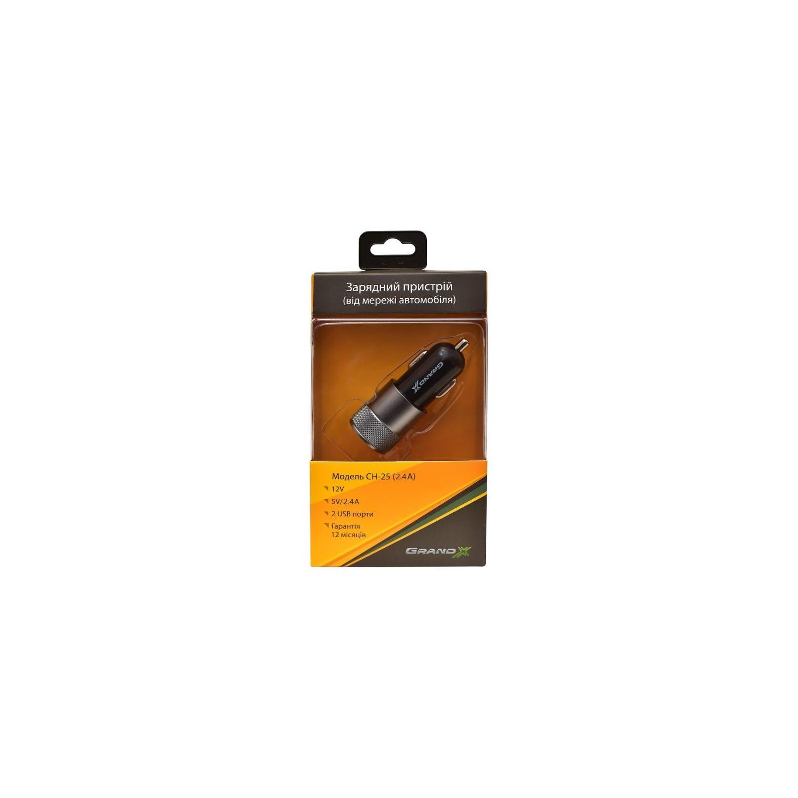 Зарядное устройство Grand-X 2xUSB 5V/2.1A + DC cable 2,2А USB/Micro USB 1m (CH-25BM) изображение 3