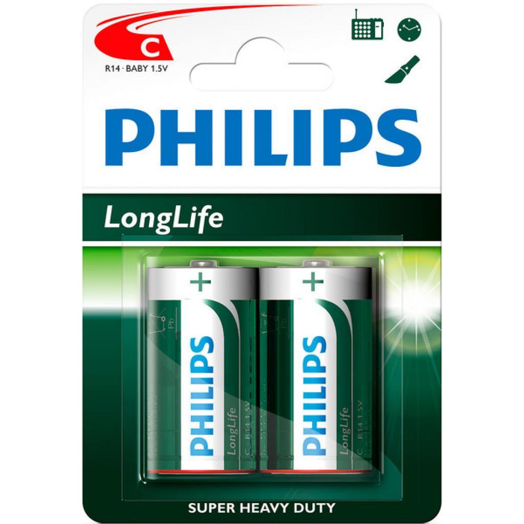 Батарейка PHILIPS R14 PHILIPS Longlife L2B * 2 (R14L2B/97)