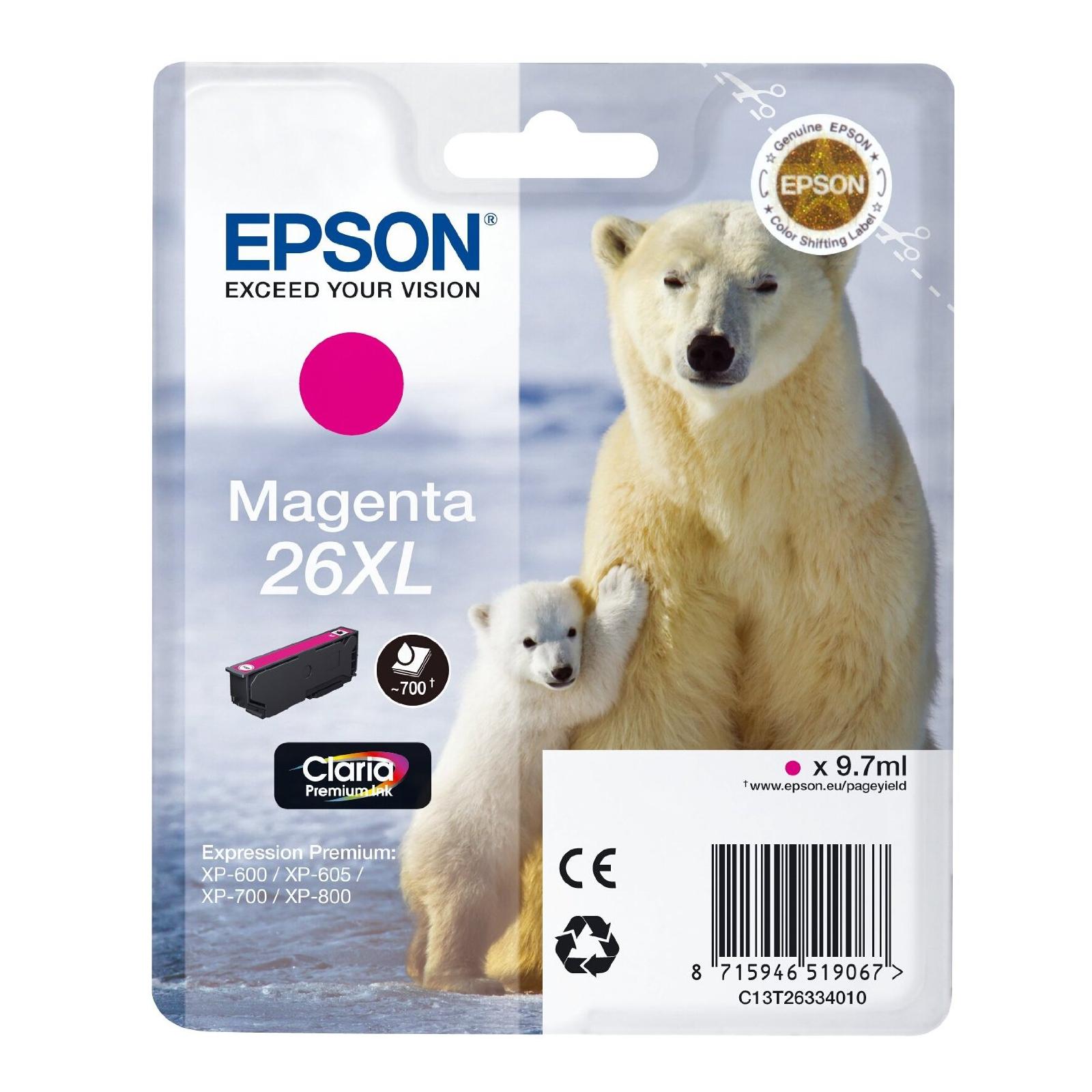 Картридж EPSON 26XL XP600/605/700 magenta (C13T26334010)
