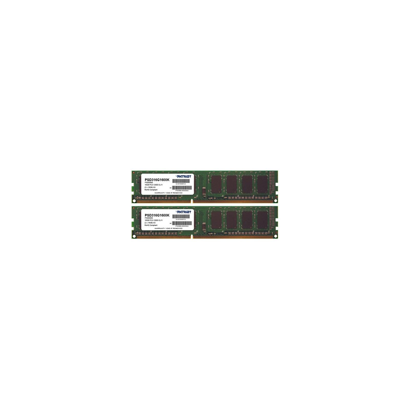 Модуль памяти для компьютера DDR3 16GB (2x8GB) 1600 MHz Patriot (PSD316G1600K)