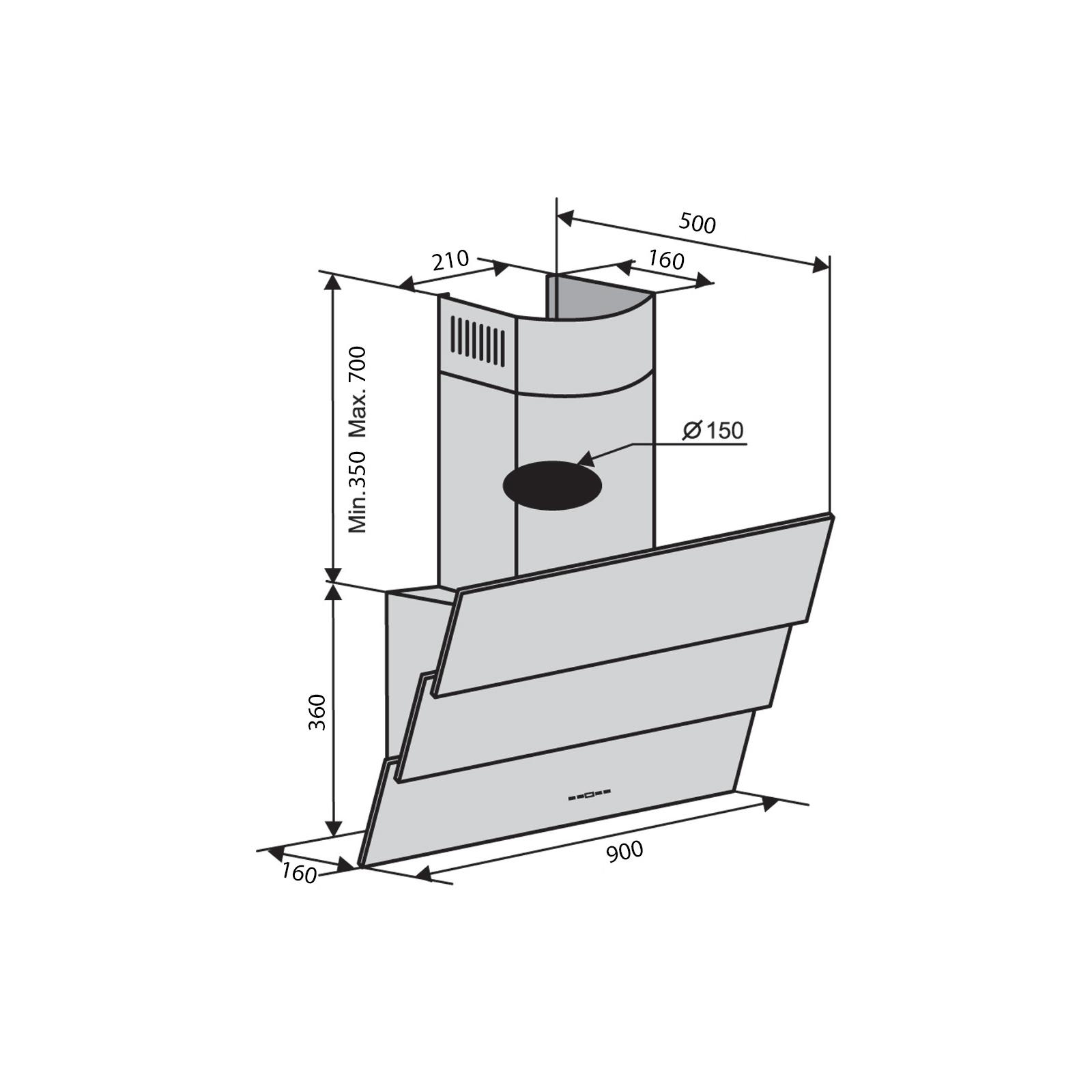 Вытяжка кухонная Ventolux RIALTO 90 BK (1000) TRC IT изображение 2