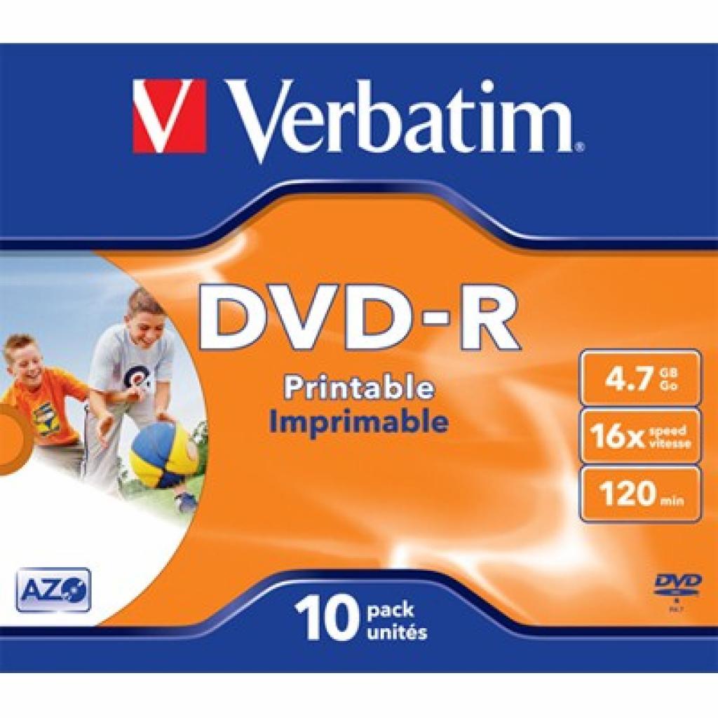 Диск DVD Verbatim 4.7Gb 16X JewelBox 10шт Print-White (43521)
