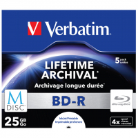 Диск BD Verbatim DL 25Gb 4x Jewel Case 5шт M-Disc Archival Media (43823)