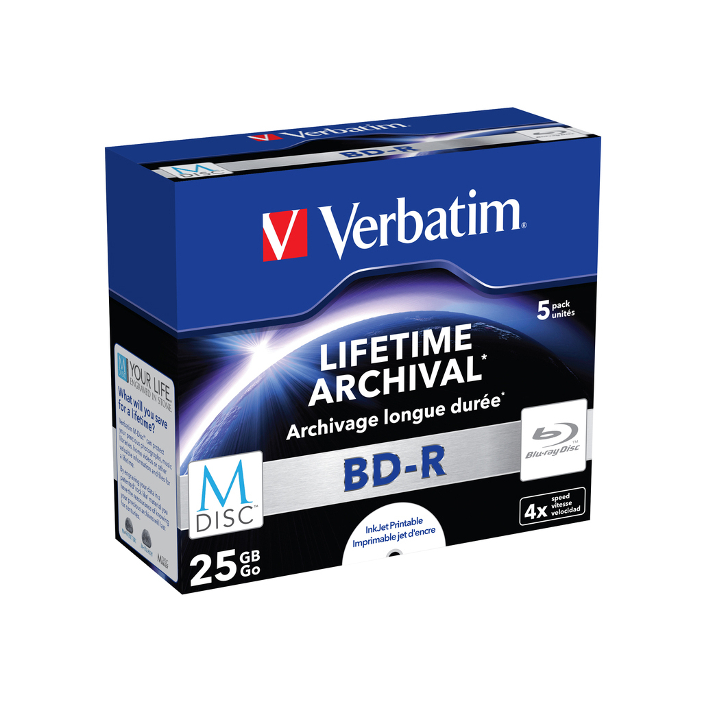 Диск BD Verbatim DL 25Gb 4x Jewel Case 5шт M-Disc Archival Media (43823) изображение 2