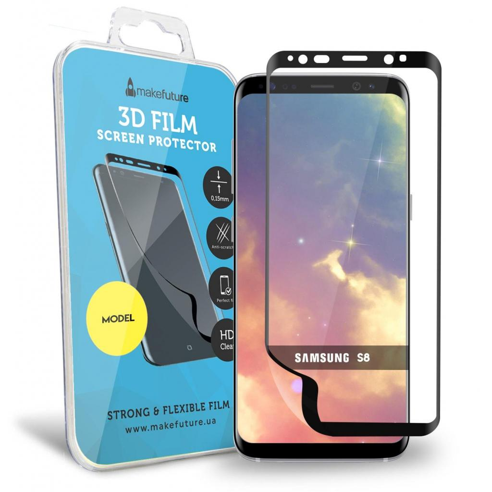 Пленка защитная MakeFuture для Samsung S8 Black 3D (MF3D-SS8B)