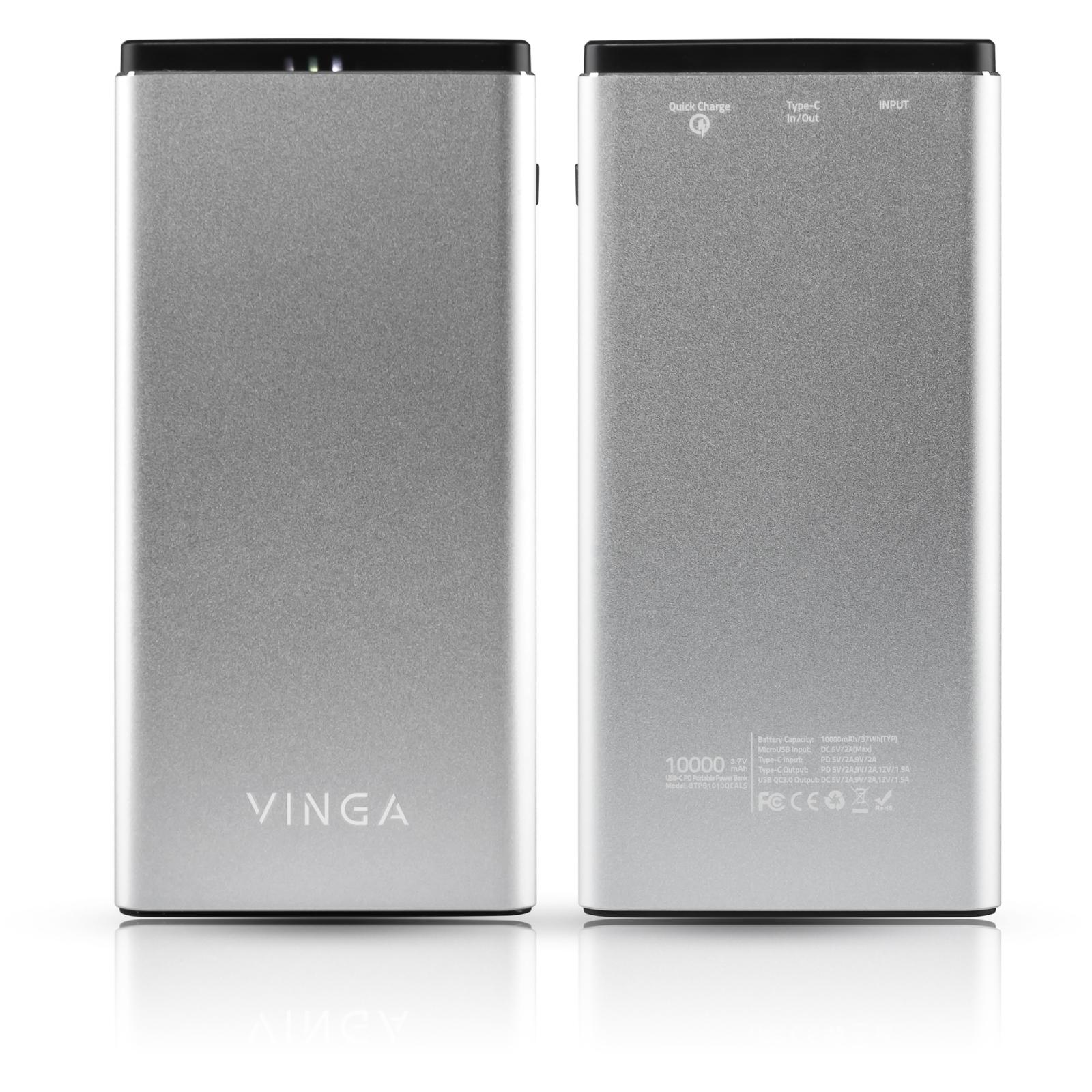 Батарея универсальная Vinga 10000 mAh QC3.0 PD aluminium silver (BTPB1010QCALS) изображение 6