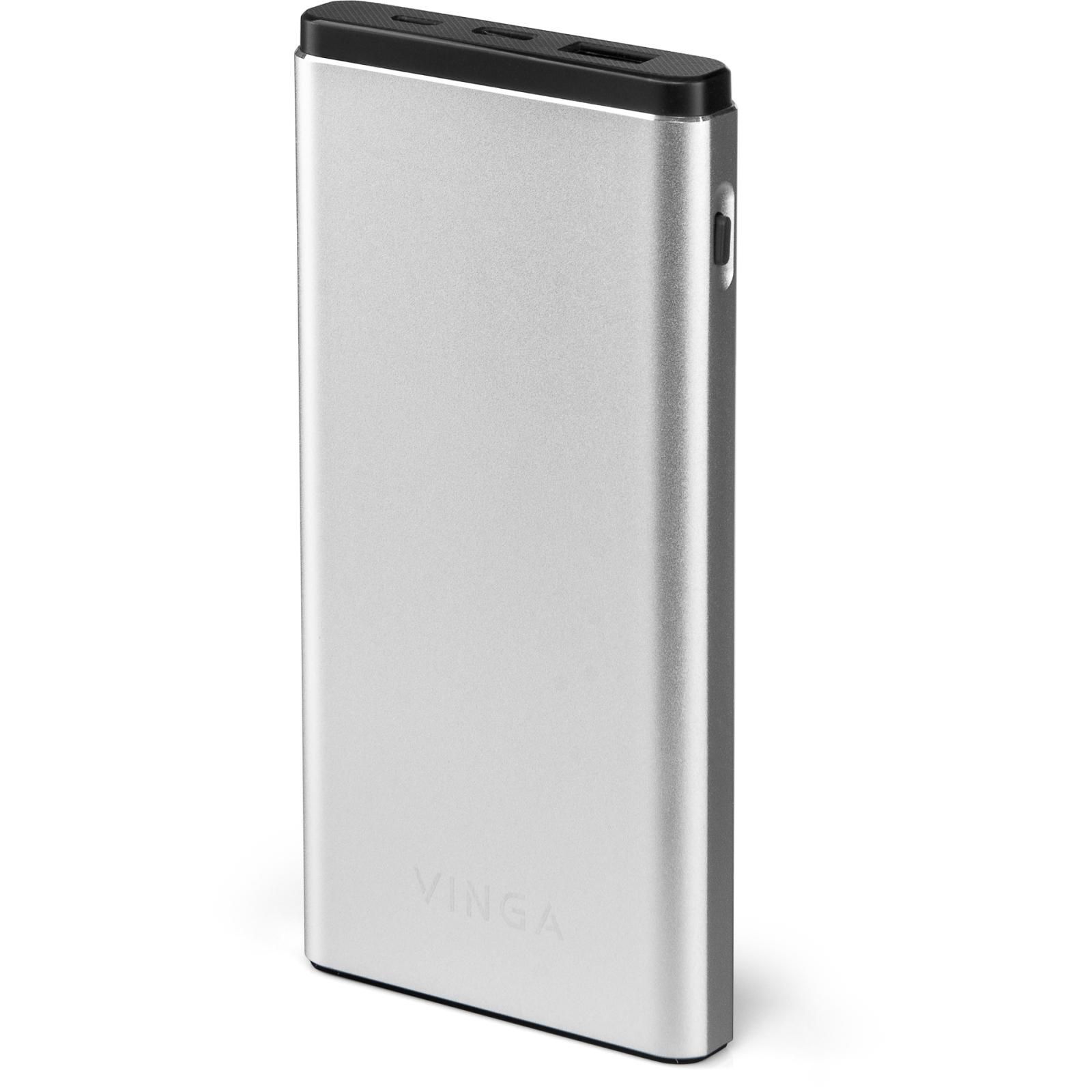 Батарея универсальная Vinga 10000 mAh QC3.0 PD aluminium silver (BTPB1010QCALS)