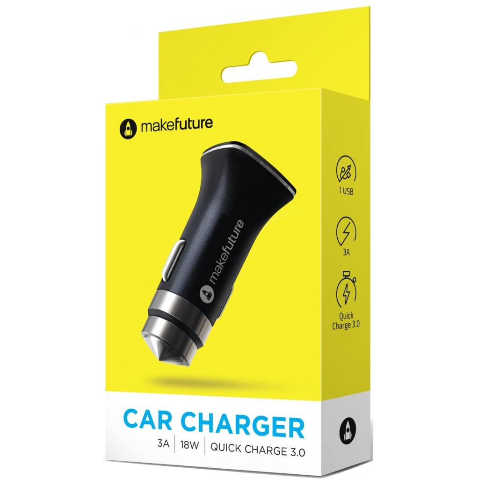 Зарядное устройство MakeFuture Car 3A QuickCharge Black (MCC-31QBK)