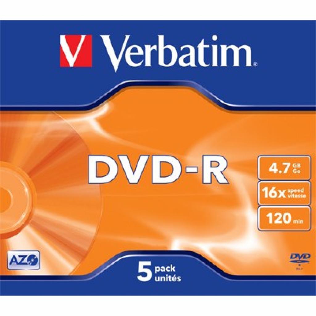 Диск DVD Verbatim 4.7Gb 16X Jewel 5 шт Matt Silver (43519)