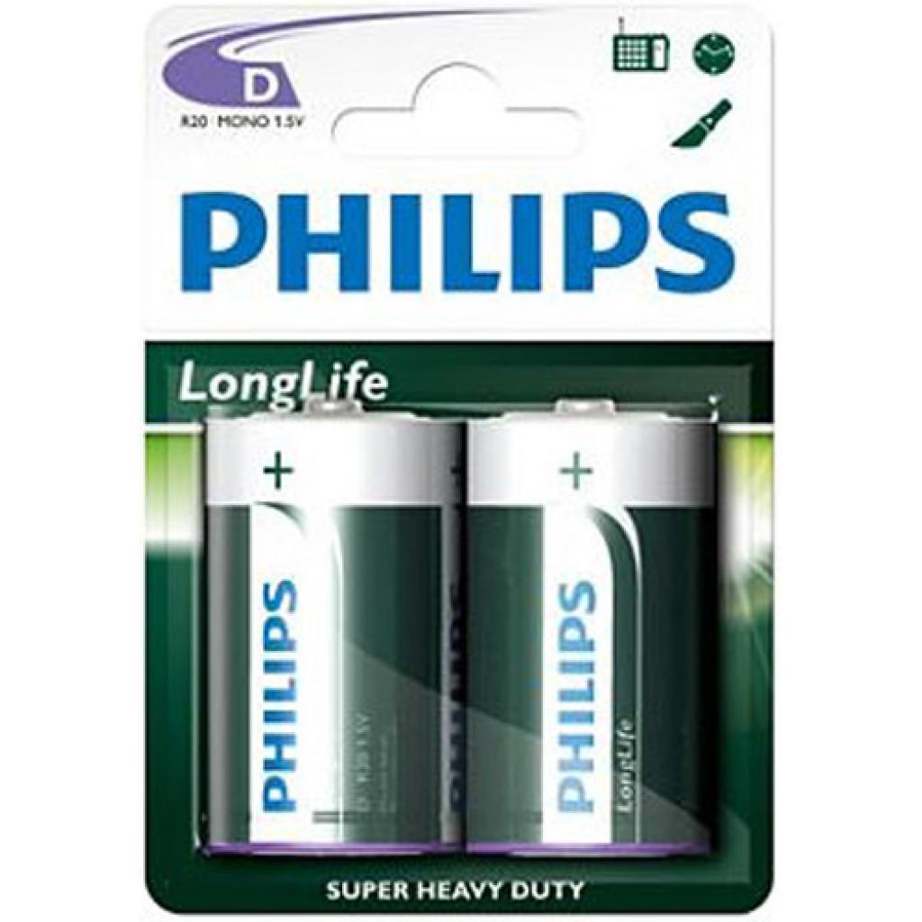 Батарейка PHILIPS R20 PHILIPS Longlife L2B * 2 (R20L2B/97)